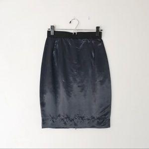 Lanvin Navy Blue Silk Blend Pencil Skirt w/ Zipper